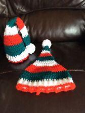 🌈👶 BRAND NEW CROCHETED BABY CHRISTMAS PIXIE HAT NEWBORN photo prop 👶🌈