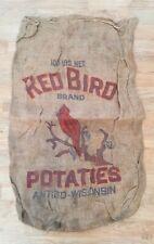 Vintage Red Bird Potatoes Feed Sack Burlap Bag 100 lb.