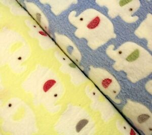 "Super Soft Cuddle Fleece, Elephant Print, Fur Fabric, 2 Colours, Pastel, 60"""