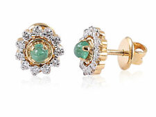 Pave 0.97 Cts Natural Diamonds Emerald Stud Earrings In Fine Hallmark 18K Gold