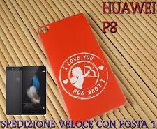 Cover custodia in gomma di silicone Smartphone Huawei P8 fantasia CUPIDO I LOVE