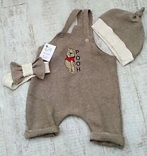 Pooh bear, loose weave romper, hat, headband. Beige. Baby clothes outfit gift