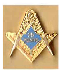 25 years compass and square freemason lapel badge masonic the craft masonry