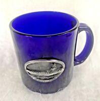 USS Ronald Reagan Aircraft Carrier Cobalt Blue Souvenir Mug Pewter Emblem CVN-76