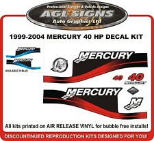 1999 - 2004  Mercury 40 HP  Reproduction Decal Kit   50  60 HP also