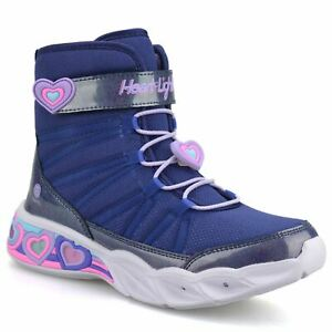 Girls Skechers Sweetheart LED High Top Light Up Ankle Boots Trainers Shoes Size