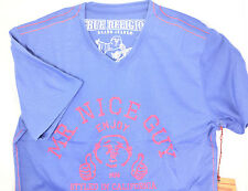 $225 TRUE RELIGION Mens BLUE RED V-NECK MR. NICE GUY T-SHIRT TEE SIZE MEDIUM M
