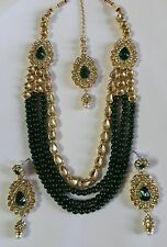 Indian Bollywood Fashion Long Green Pearl Queen Necklace Earrings Jewelry Set
