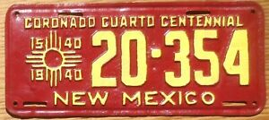 1940 New Mexico License Plate Number Tag Cuarto Centennial