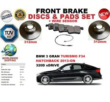 FOR BMW 3 F34 GRAN TURISMO 13-ON 312MM FRONT BRAKE DISCS SET + PADS KIT + SENSOR