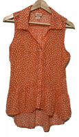 Mossimo Women's Sleeveless Orange V Neck Tank Top M Medium Hi Lo Collared Sheer