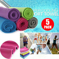 5-Pack Ice Cold Instant Cooling Towel Running Jogging Gym Chilly Pad Sports Yoga