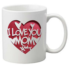 I Love You Mom With White Hearts in a Red Heart on a Mug - Great Novelty Gift