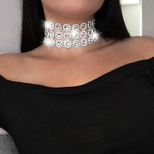 Lady Diamante Choker Necklace Rhinestone Silver Crystal Party Bridal Necklace