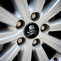 4x Wheel Emblem Hub Center Cap Car Accessories Cross Bone Skull Logo Sticker Top