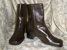 VALERIE STEVENS BROWN LEATHER ANKLE BIKER PANTS BOOTS SIZE: 8.5 M  STYLE: PETROL