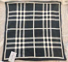 "NWT Queenwest Gray Plaid Cushion Pillow Cover Sham Euro 26"" x 26"" Square India"