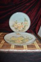 """2 CATHEDRAL Bavaria W Germany """"PRESTIGE"""" Hand-Painted Rose Dinner Plate 10 3/8"""""""