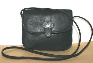 ❤️ Antiqued-Silver Heart Concho Black Pebbled Leather Crossbody Bag GREAT! L@@K!