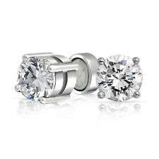 4mm Unisex Clear Round Magnetic Clip On Cubic Zirconia Stud Earring