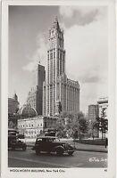 New York NY Real Photo RPPC Postcard c1930s NEW YORK CITY Woolworth Buiding Cars