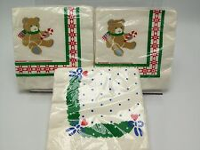 Teddy Hugglesbie Napkins Christmas Paper Beverage 2 packages +1 USA Gibson