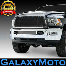 13-17 RAM Trucks 2500+3500+HD Front Hood Black Mesh Grille+Rivet+Chrome Shell