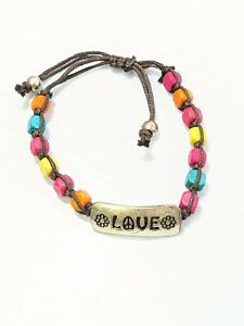 Artisan Silver Tone Colorful Wood Bead Love Peace Sign Flower Adjustable Bracele