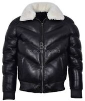 Men's Puffer Leather Jacket Black Fur Collar WARM Bomber REAL LEATHER Jacket Ace