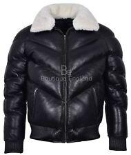Puffer chaqueta para hombre de cuero negro | Cuello con Piel Cálido y fuerte de cuero real