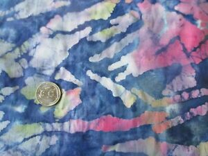 BATIK Vintage PINK GREEN YELLOW SHAPES On BLUE 1980's COTTON Fabric - 1 yd
