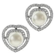 Beautiful 10mm White Shell Pearl and Cubic Zirconia CZ Heart Shape Stud Earrings