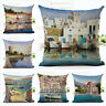 Coastal Town Port Pillow Case Cushion Cover Home Car Decorative Scenery Shipping