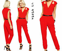Overall tuta intera donna tutina rossa cinturino jumpsuit elegante nuova