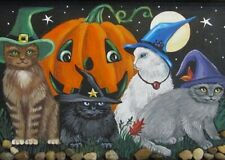 5x7 PRINT OF PAINTING RYTA HALLOWEEN VINTAGE STYLE BLACK CAT witch COSTUME ART