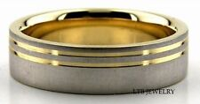 10K TWO TONE SOLID GOLD MENS WOMENS WEDDING BANDS RINGS 6MM
