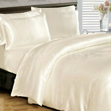 SATIN QUILT COVER King Size Ivory Cream Luxury Silk Feel Duvet Doona Bedding Set