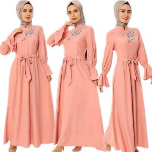 Embroidery Abaya Muslim Women Maxi Dress Kaftan Jilbab Islamic Turkish Arab Robe
