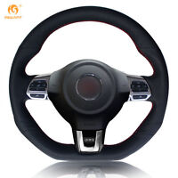 Black Leather Steering Wheel Cover for VW Golf 6 GTI MK6 Polo Scirocco R #FZ20