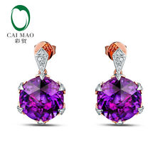 8.3ct Natural Amethyst 0.12ct Diamond 14kt Gold Earrings Stup Earring Promotion