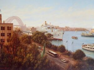 Joseph Frost, Sunny Day - Circular Quay, P & O, ORIANA in Sydney Harbour.