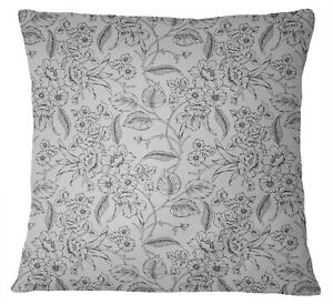 S4Sassy Floral Print Gray Square Cushion Cover Cotton Poplin Pillow-SHR