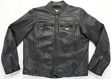Harley Davidson Veste Cuir L Shifter Noir en Relief Barre Bouclier Zip Orifice