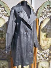 STUNNING LONG PEARL METALLIC SILVER GENUINE LEATHER JACKET TRENCH COAT 2X 3X 4X