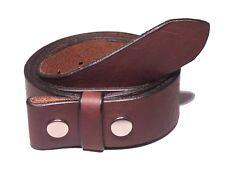Dark Brown Leather Belt Strap 1 1/2 Inch Wide (38mm) Snap On Press Stud Men Lady