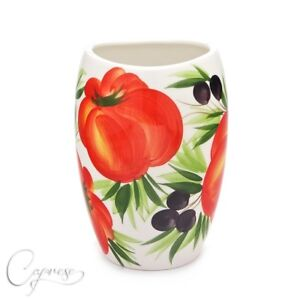 Bassano Ceramic Vase Table Beautiful Tomatoes With Olive Motif 7 7/8in High New