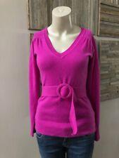 Diane von Furstenberg DVF Maia Cashmere Sweater Fuchsia Belted Size P XS