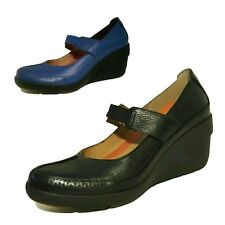 CLARKS UN CHELSEA BLACK BLUE GENUINE LEATHER MARY JANES WEDGES SHOES LADIES D