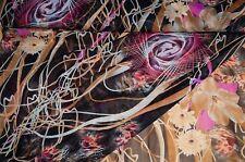 1,80m Chiffon Stoff schwarz bunt gemustert Blumen 8,88€/m #0629