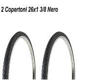 2 Copertoni Da Bici 26x1 3/8 Nero Per Bicicletta Olanda City Bike Graziella